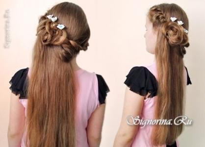 Причёска на выпускной на длинные волосы с укладкой из завитков своими руками